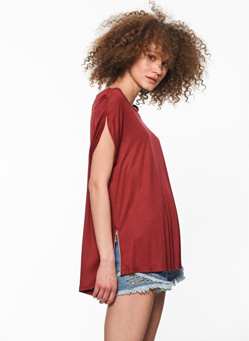 Fashion Friends Önü Kısa Arkası Uzun Bluz Bordo